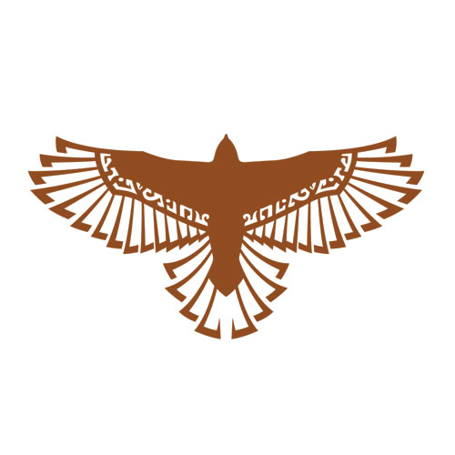 'Hawk logo for Myth Hawker Travelling Bookstore' by Joe Nittoly