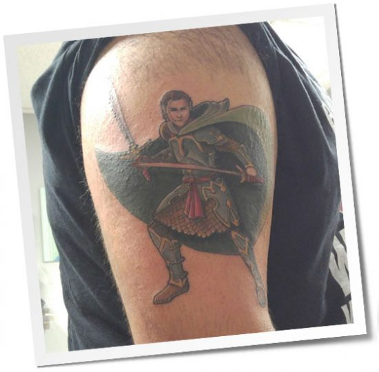 Tattoo of 'Dual Wielding Elf Fighter' Illustration