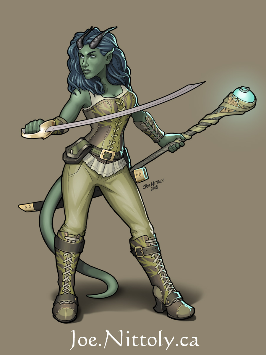 'Ea, Tiefling Druid' by Joe Nittoly