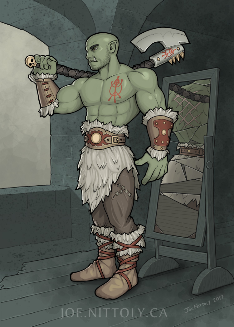 'Critol, Half-Orc Barbarian' by Joe Nittoly